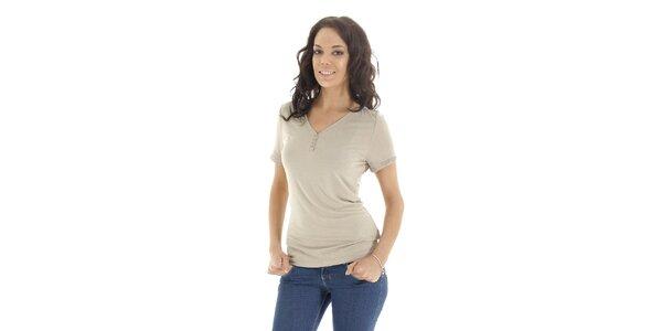 Dámské triko s krátkým rukávem v barvě slonové kosti Peace&Love