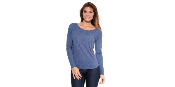 Dámské modře melírované triko s dlouhým rukávem Peace&Love
