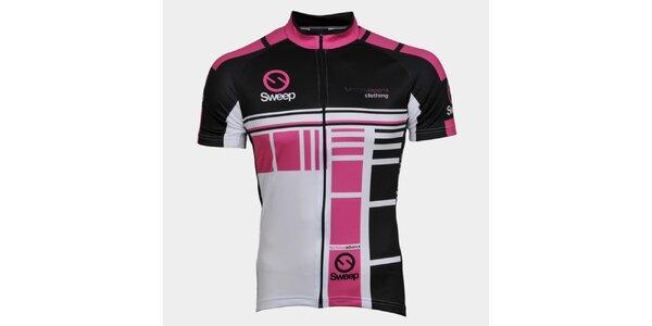 Růžovo-černý cyklistický dres Sweep