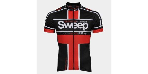 Červeno-černý cyklistický dres Sweep
