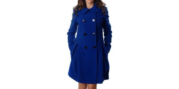 Elegantní dámský dvouřadý kabát Mya Alberta v modré barvě