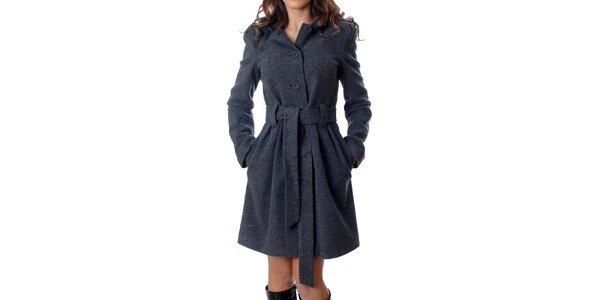 Klasický dámský kabátek Mya Alberta s kapucí v šedé žíhané barvě