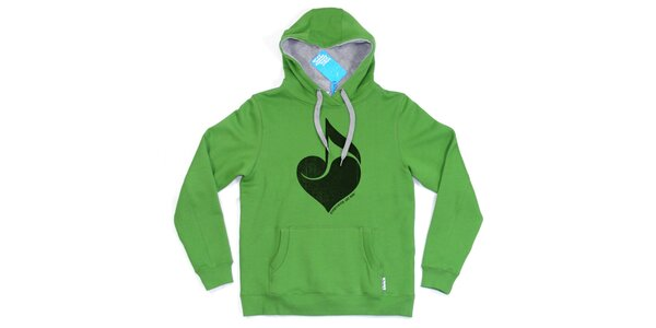 Pánská zelená mikina se srdcem Seventy Seven