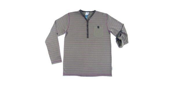 Pánské šedé pruhované tričko s dlouhým rukávem Seventy Seven