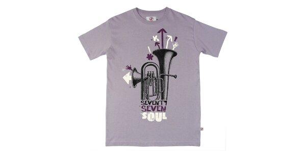 Pánské fialové tričko s potiskem Seventy Seven