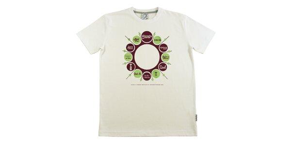Pánské krémově bílé tričko s retro potiskem Seventy Seven
