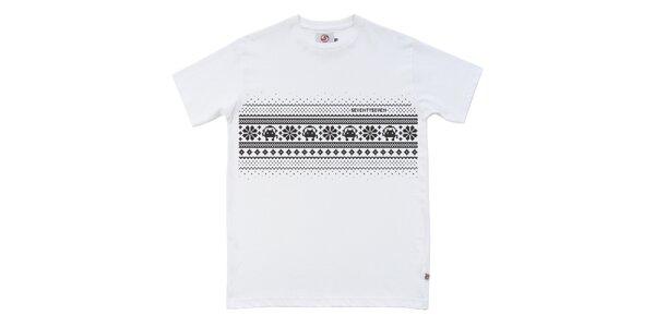 Pánské bílé tričko s potiskem Seventy Seven