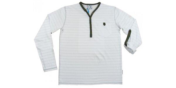 Pánské bílé pruhované tričko s dlouhým rukávem Seventy Seven