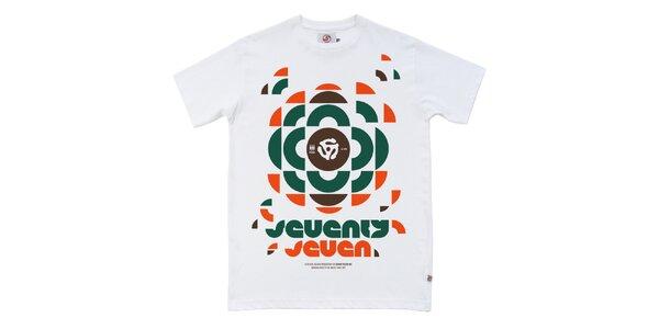 Pánské bílé tričko s retro potiskem Seventy Seven
