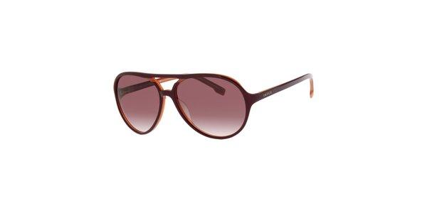 Dámské tmavě hnědé sluneční brýle Lacoste s oranžovým detailem