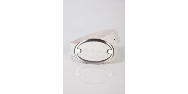 Pánský bílý kožený pásek Calvin Klein
