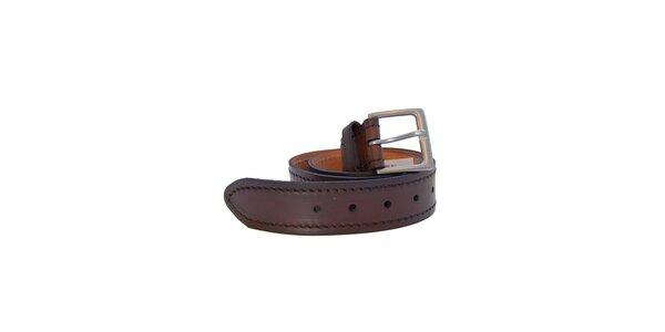 Pánský tmavě hnědý prošívaný kožený pásek Dockers