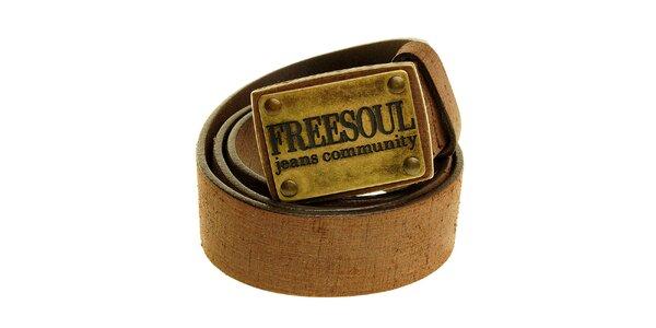Pánský tmavě hnědý kožený pásek Freesoul