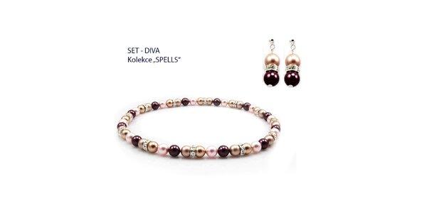 Dámský fialový set náušnic a náhrdelníku Royal Adamas