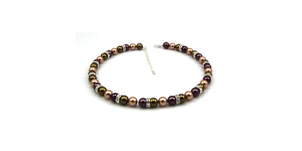 Dámský perlový náhrdelník Royal Adamas se zeleno-fialovými perlami