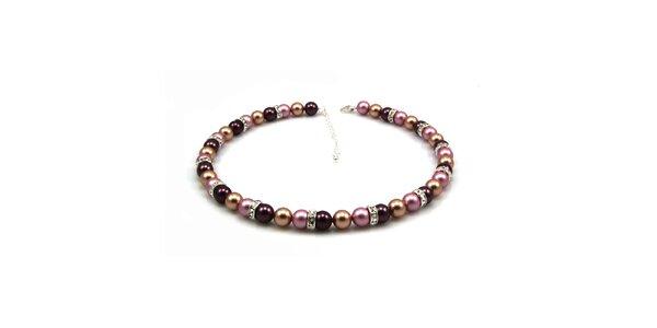 Dámský perlový náhrdelník Royal Adamas s růžovo-fialovo-zlatými perlami