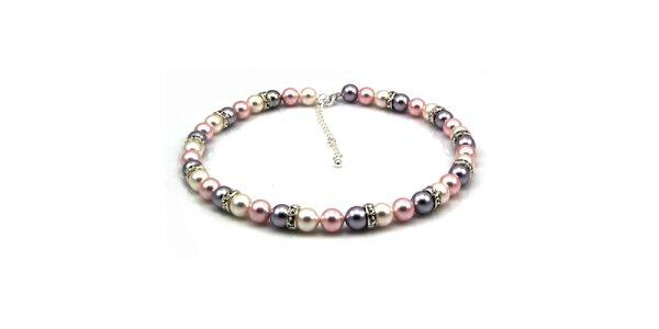 Dámský perlový náhrdelník Royal Adamas se stříbrno-růžovými perlami