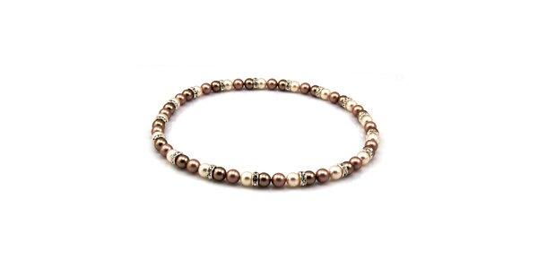 Dámský perlový náhrdelník Royal Adamas s hnědými perlami