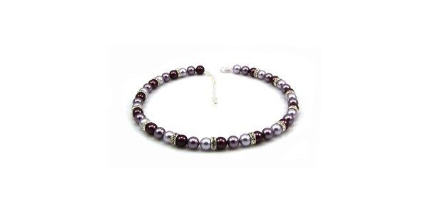 Dámský perlový náhrdelník Royal Adamas s fialovo-stříbrnými perlami