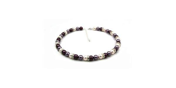 Dámský perlový náhrdelník Royal Adamas s fialovými perlami