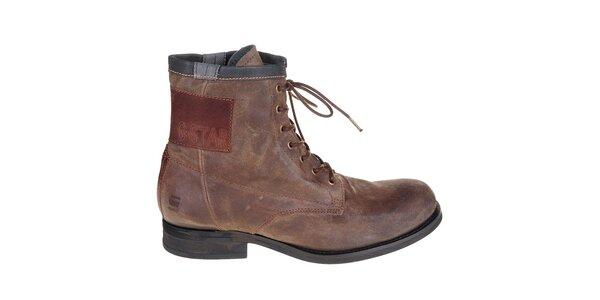Pánské tmavě hnědé kožené boty G-Star