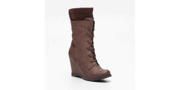 Dámské hnědé vysoké šněrovací boty na klínku Maria Mare