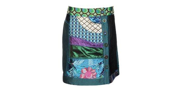 Dámská barevná lesklá sukně Desigual s výšivkami