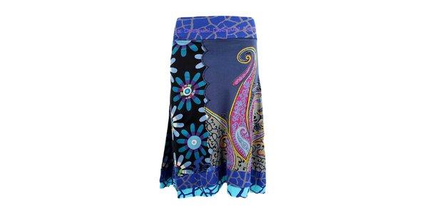 Dámská modrá sukně s pestrým potiskem Desigual