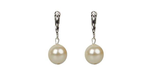 Dámské smetanové perlové náušnice Royal Adamas