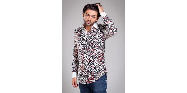 Pánská bílá hedvábná košile Dolce & Gabbana s puntíkovaným vzorem