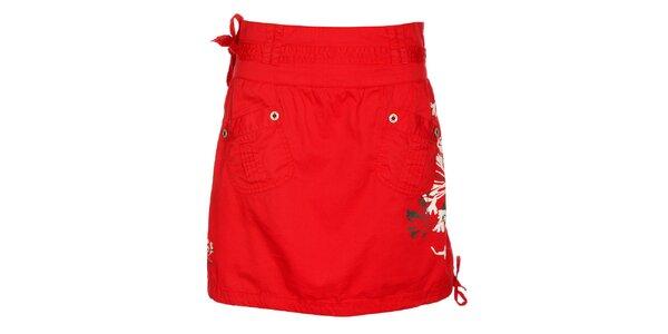 Dívčí červená sukně Loap s potiskem