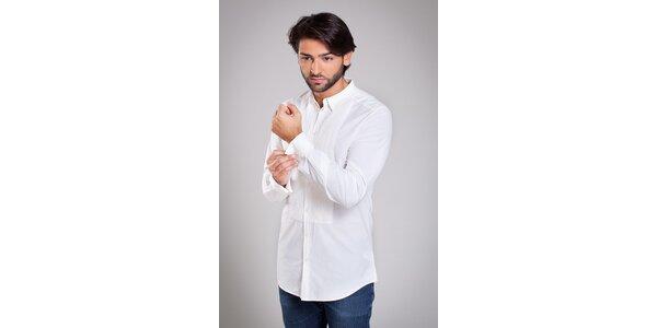 Pánská bílá košile Dolce & Gabana s ozdobným plisováním