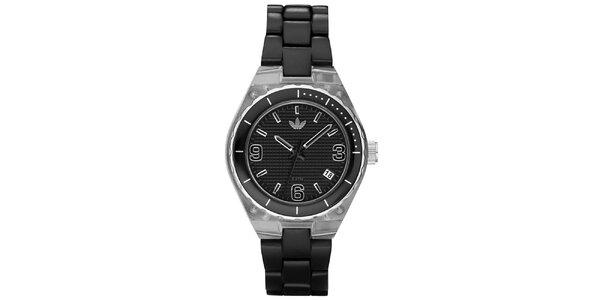 Pánské černé hodinky Adidas s plastovým potahem pouzdra a řemínkem