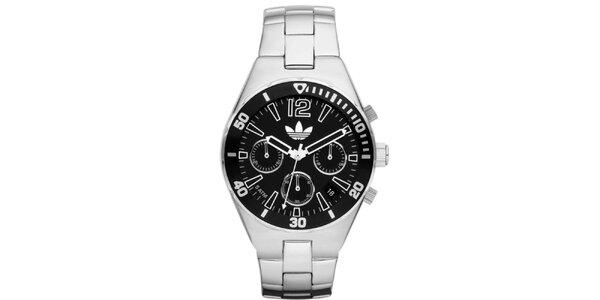Unisexové ocelové hodinky s černým ciferníkem Adidas