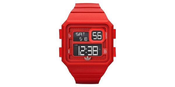 Unisexové červené digitální hodinky se stopkami Adidas