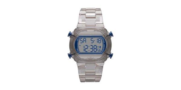 Unisexové digitální hodinky s šedým řemínkem Adidas
