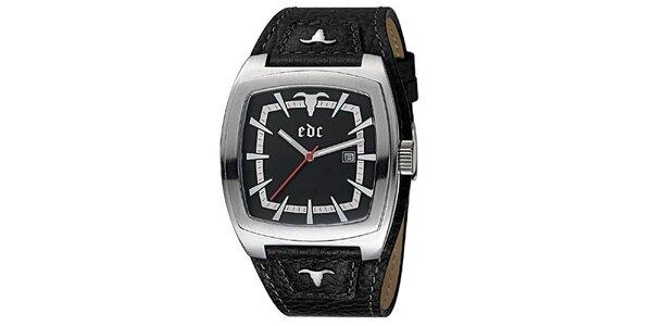 Černé hodinky s koženým řemínkem EDC by Esprit