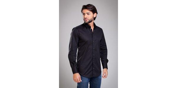 Pánská černá košile Dolce & Gabbana s jemným proužkem