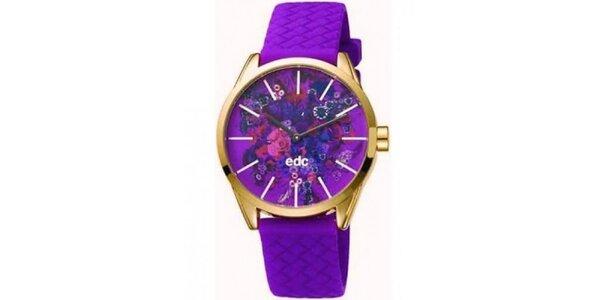 Dámské fialové hodinky EDC by Esprit s květinovým ciferníkem