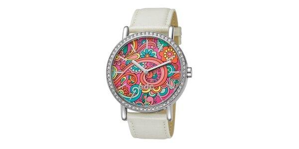 Dámské smetanové hodinky s barevným ciferníkem EDC by Esprit