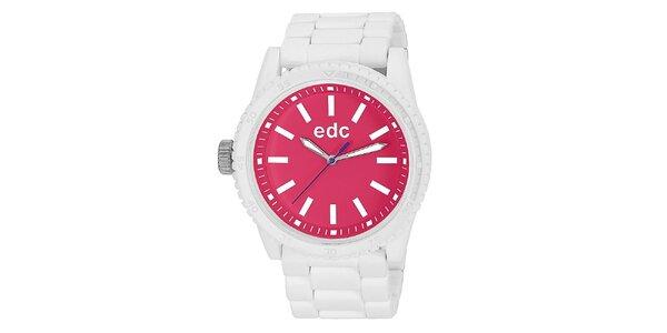 Dámské bílé hodinky s růžovým ciferníkem EDC by Esprit