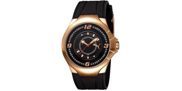 Pánské černo-zlaté analogové hodinky Puma