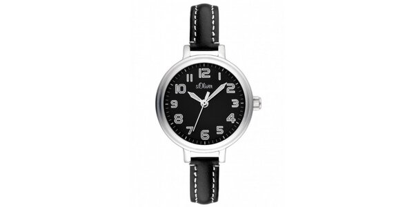 Dámské stříbrné hodinky s černým ciferníkem s.Oliver