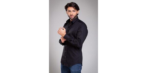 Pánská černá košile Dolce & Gabbana s proužkem