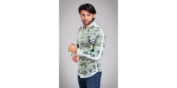 Pánská světle zelená košile Dolce & Gabbana s havajským vzorem