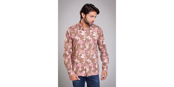Pánská hnědá košile Dolce & Gabbana s květinovým potiskem