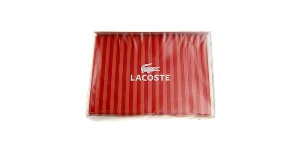 Proužkovaný sytě červený set ložního prádla Lacoste