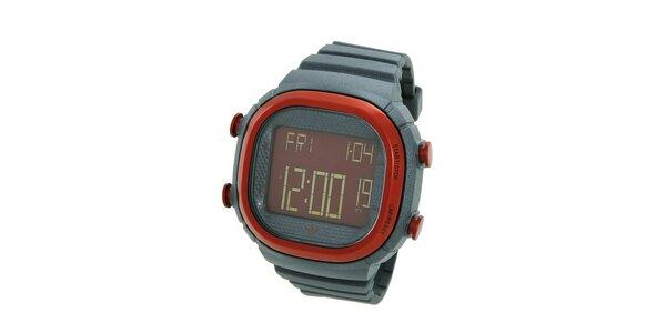 Tmavě šedé digitální hodinky Adidas s červenými detaily
