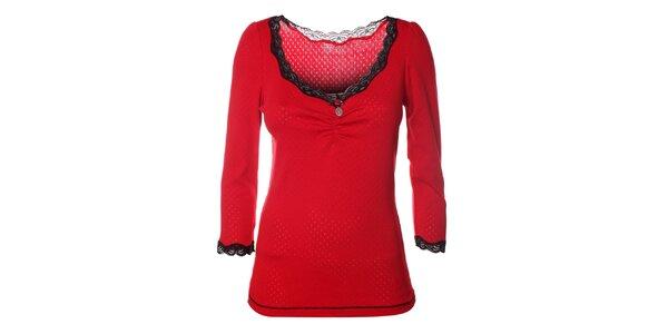 Dámské červené tričko s krajkou Vive Maria