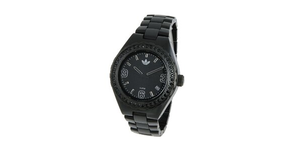 Dámské černé hodinky Adidas s krystaly